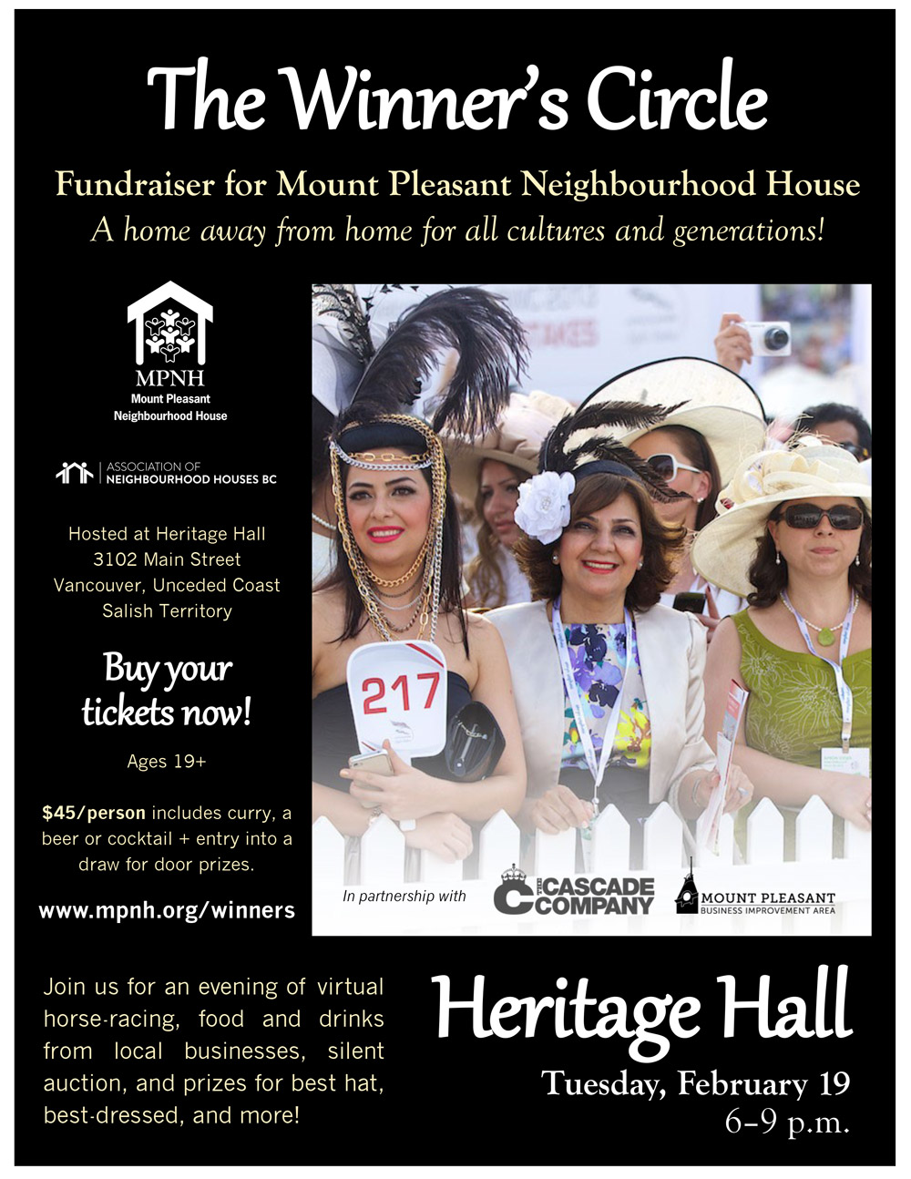 Event poster containing details listed above, and photo of people dressed up for the races.