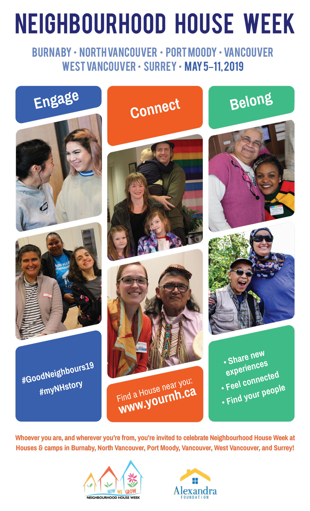 A poster showing images of people from many generations, abilities and cultural backgrounds, smiling and doing activities together.