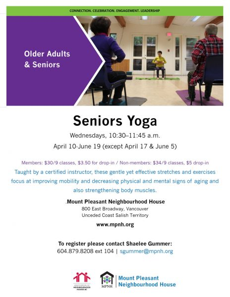 A poster showing seniors doing yoga while seated on chairs.