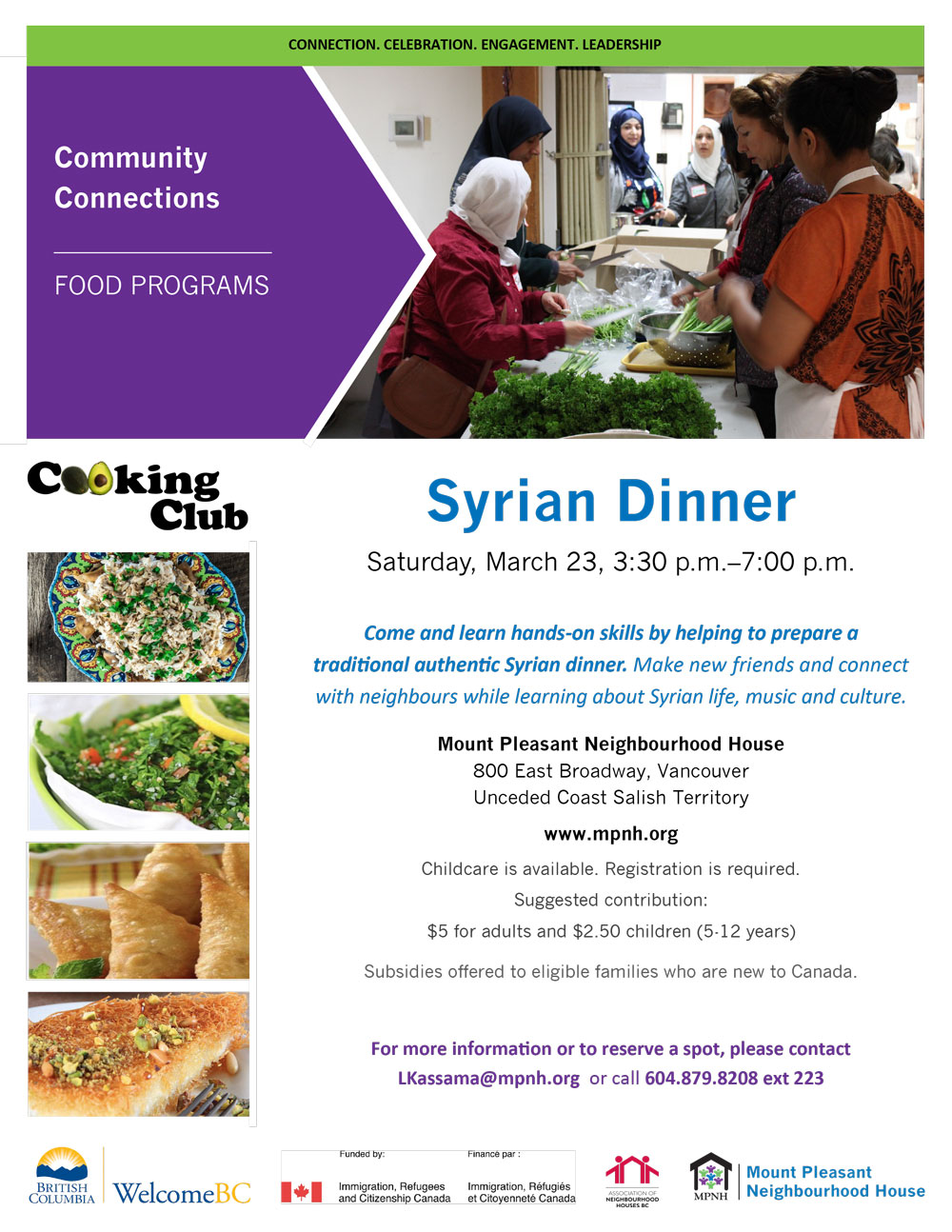 An image of the poster for this event, featuring a picture of people cooking together, and photos of Syrian food items on the menu
