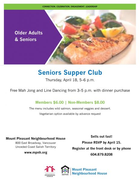 An image of the poster, featuring a photo of a salmon fillet with vegetables. Includes event details.