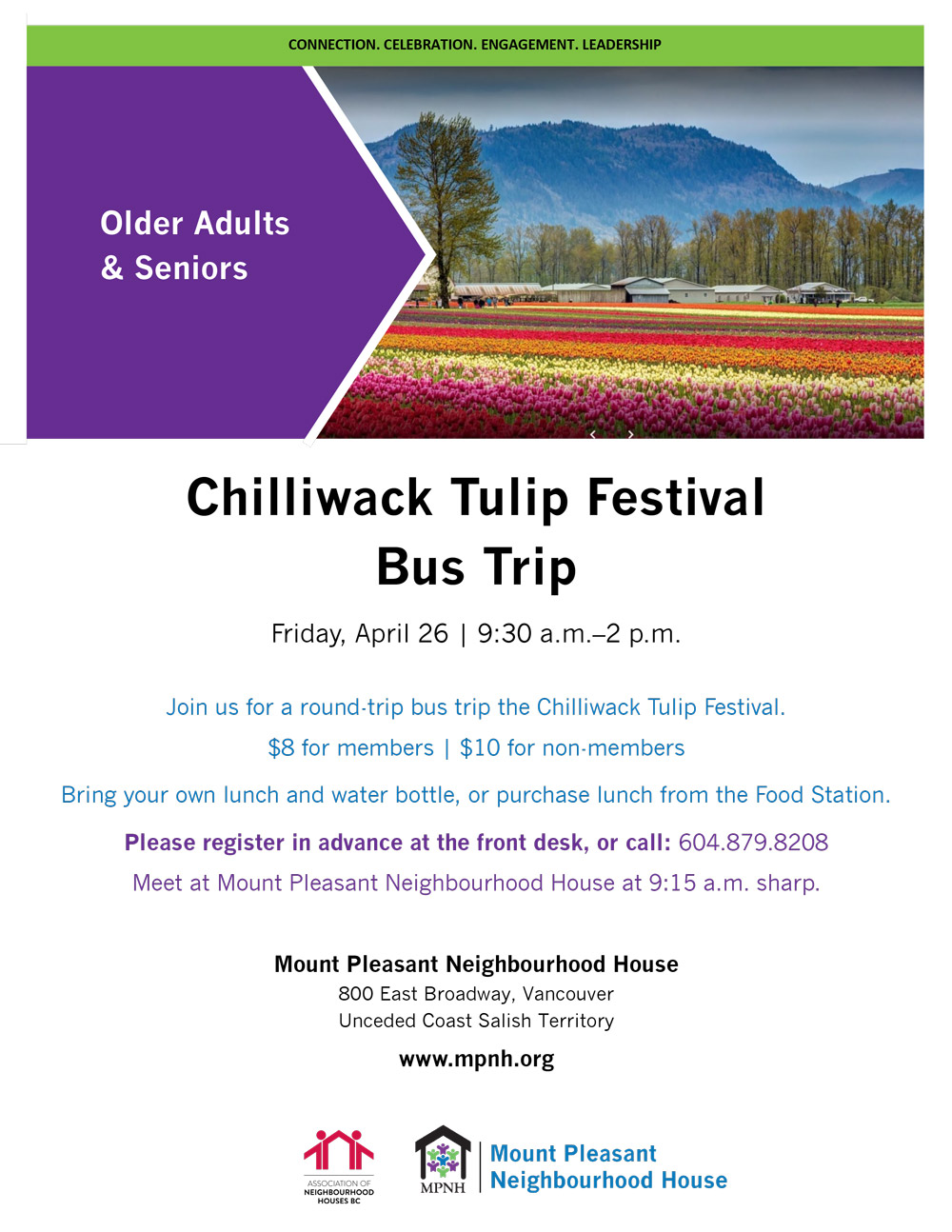 An image of the poster, with fields of tulips and mountains in the background, including event details.