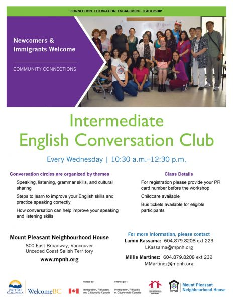 An image of the poster with program details, featuring a photo of a diverse and smiling group of intermediate students with instructors