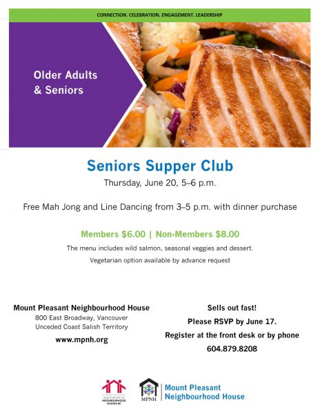 An image of the poster with event details, featuring a picture of grilled salmon and vegetables.