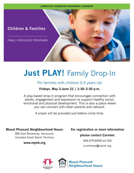 An image of the poster with program details, featuring a child happily playing.
