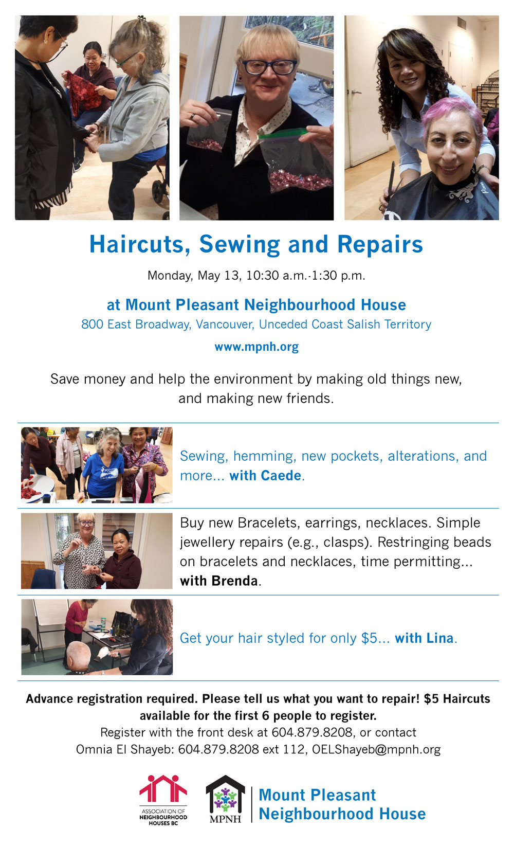 An image of the poster with event details, showing Caede doing sewing repairs, Brenda repairing jewellery, and Lina giving haircuts.