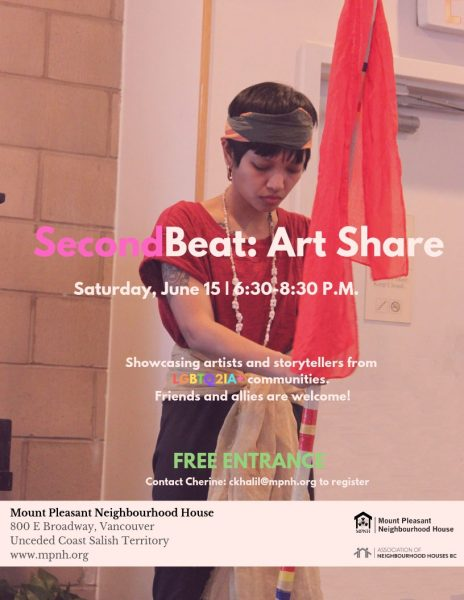 An image the poster with event details, featuring a young person holding a read scarf, with eyes closed and facing down.