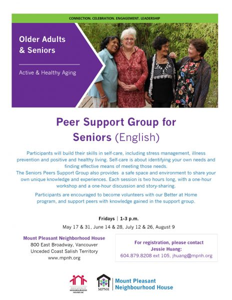 An image of the poster, with program details, and featuring four older adults of different cultural backgrounds socializing with each ohter.
