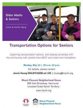 An image of the poster with event details, featuring a photo of seniors riding the bus together and smiling.