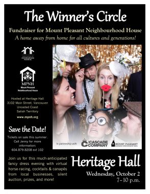 An image of the poster, with event details and a photo of people in fancy dress and hats smiling and laughing with photo booth props, in front of a gold sequined backdrop.