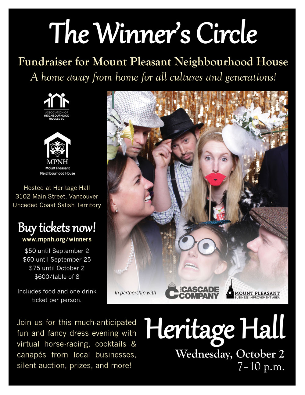 An image of the poster with event details, featuring people in fancy dress and making funny faces with photo booth props, in front of a gold glittery background.