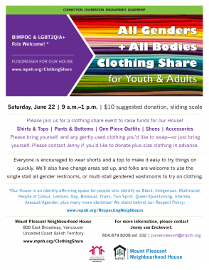An image of the poster with event details, featuring a photo of a stack of folded fabrics in rainbow colours.