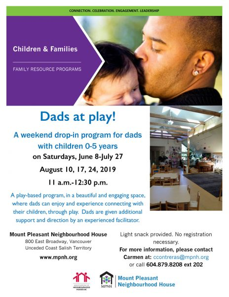 An image of the program poster with event details, featuring a photo of the preschool space and a picture of a dad kissing his baby's head