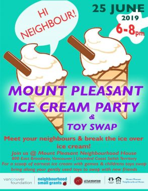 "An image of the poster with event details, featuring a graphic of two ice cream cones. One of them has a speech bubble saying ""Hi Neighbour!"""