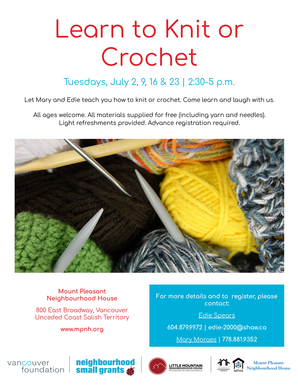An image of the poster with project details, featuring colourful balls of yarn and knitting and crochet needles.