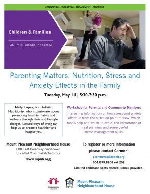 An image of the poster with event details, featuring a photo of a parent holding a baby in the background, and a parent holding his head in the foreground.