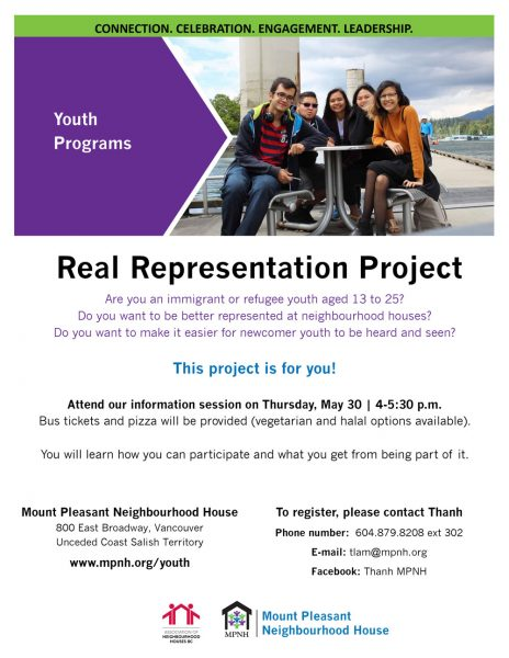 An image of hte poster with event details, along with a photo of culturally diverse youth and leaders at an outdoor picnic table.