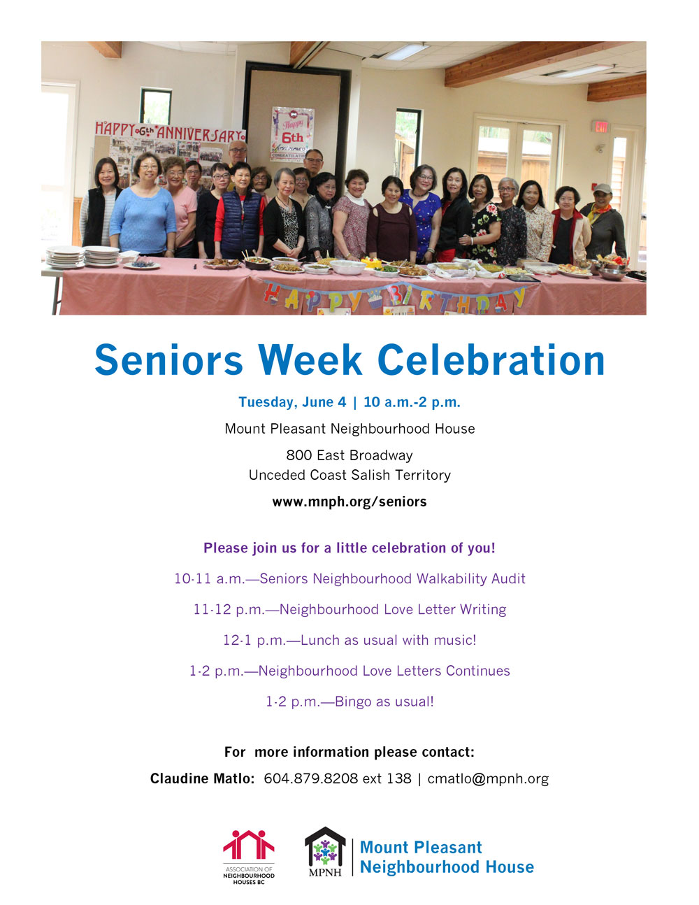 An image of the poster with event details, featuring a photo of more than 20 seniors from different cultural backgrounds celebrating a birthday.