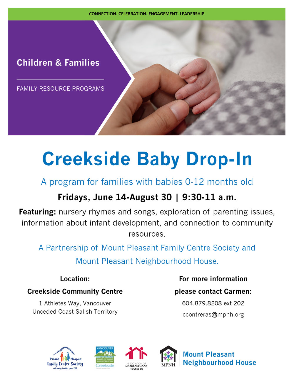 An image of the poster with program details, featuring a photo of an adult's hand holding a baby's hand