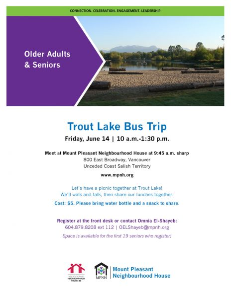 An image of the poster with event details, featuring an image of the beach at Trout Lake, with trees and mountains in the background.