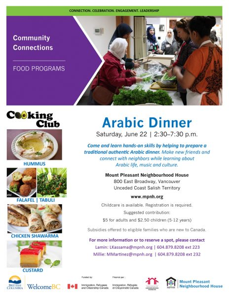An image of the poster with event details, featuring a picture of people chopping vegetables together in the kitchen.