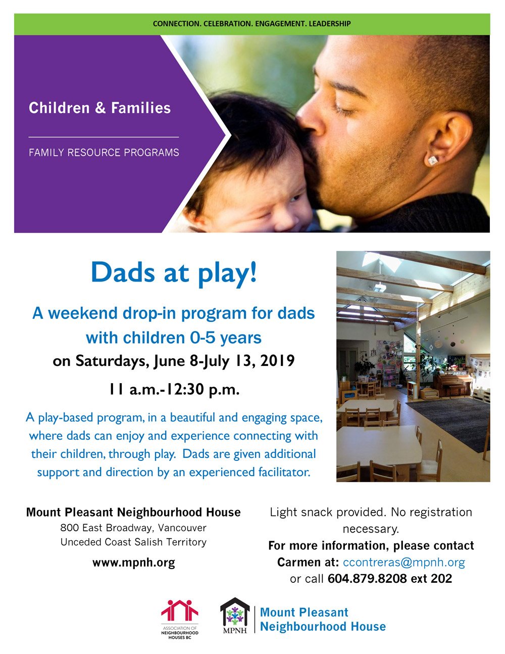 An image of the poster with program details, featuring a photo of a dad kissing his baby's head, and a photo of the preschool gathering space.