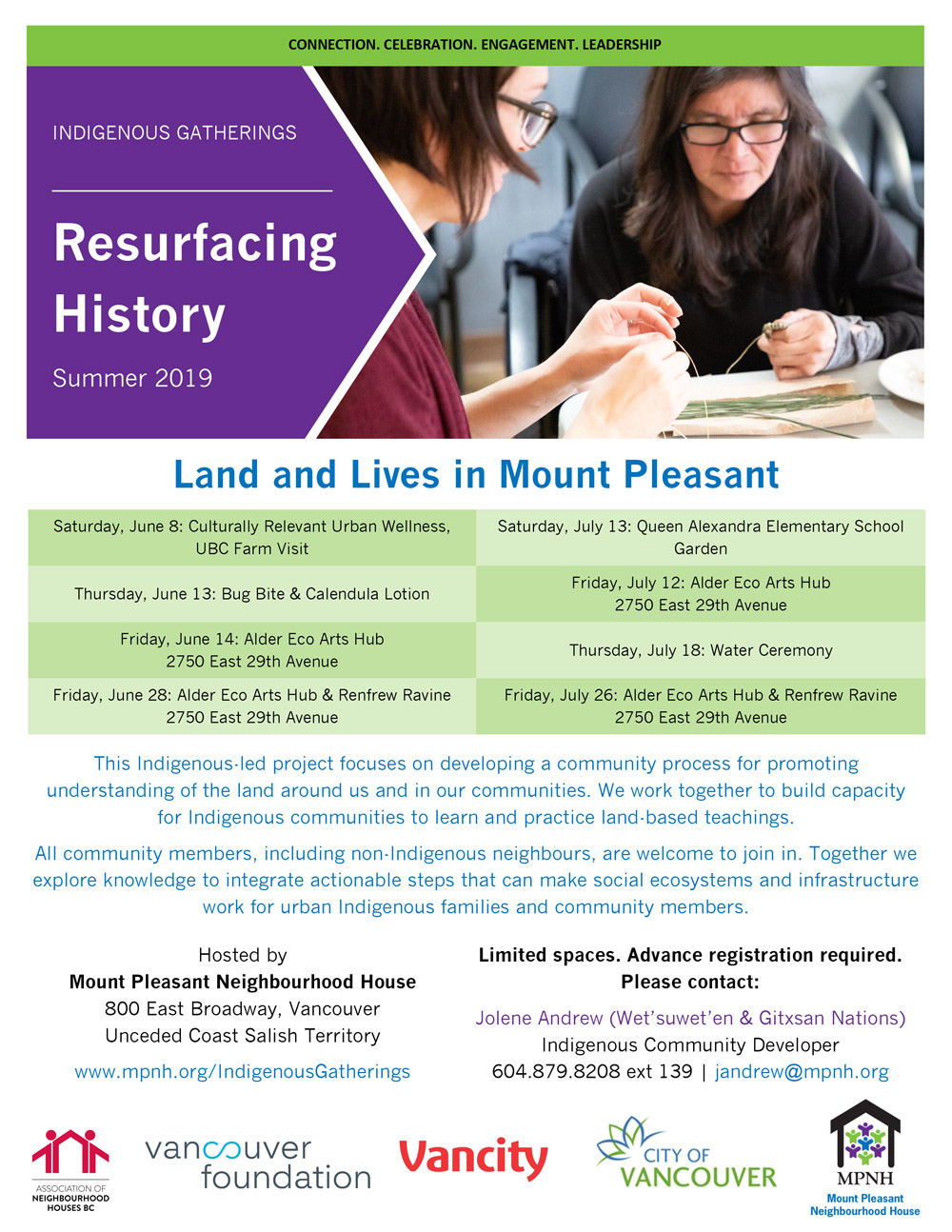 An image of the poster with event details, featuring a photo of two Indigenous people making pine needle baskets.