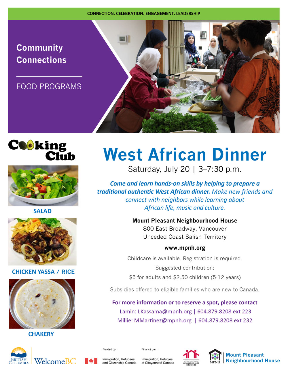 An image of the poster with event details, featuring a photo of people working together and preparing vegetables in the kitchen.