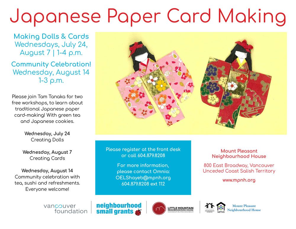 An image of the poster with workshop details, featuring an image of two Japanese paper dolls in red and pink kimonos on a cheerful yellow background.