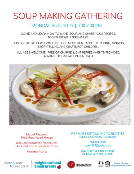 An image of the event poster with a photo of a bowl of soup with vegetables.