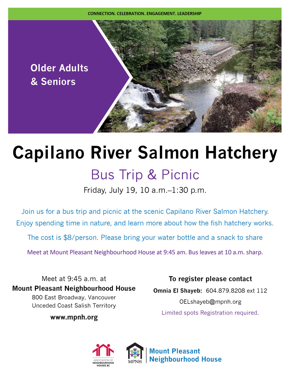 An image of the poster with event details, featuring a photo of trees, rocks and a waterfall into the river, with the hatchery in the background