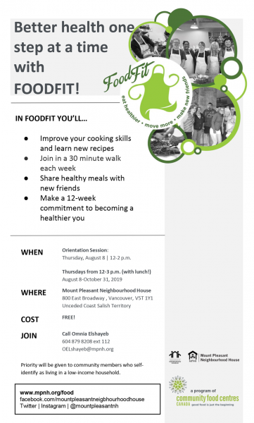 An image of the poster with program details, featuring black and white photos of people walking and cooking together.