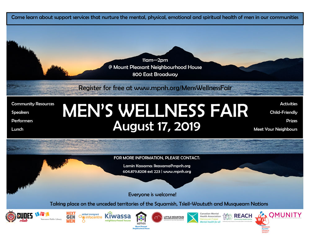 An image of the poster with event details, featuring a mountain in silhouette at sunset, reflected on the water.