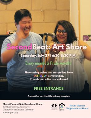 A poster with event details, featuring a photo of two performers smiling at the microphone, in front of the piano at Mount Pleasant Neighbourhood House.