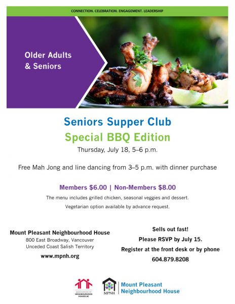 An image of the poster with event details, featuring a plate of barbecue chicken