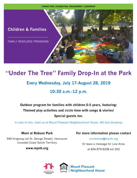 An image of the poster with program details, featuringa large group of parents and kids sitting on a brightly coloured parachute, have a picnic under the tree at Robson Park.