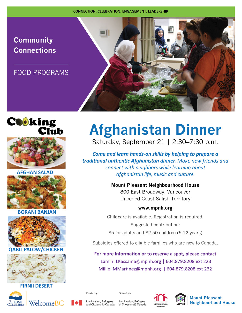 An image of the poster with event details, featuring a group of people from different backgrounds chopping vegetables together.