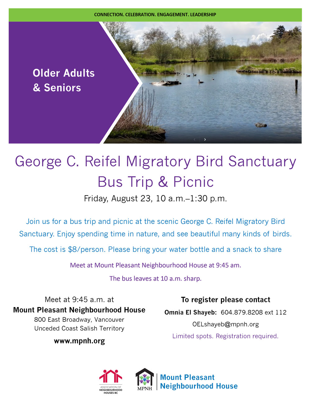 An image of the event poster with details, featuring a scenic image of birds swimming in a pond surrounded by greenery.