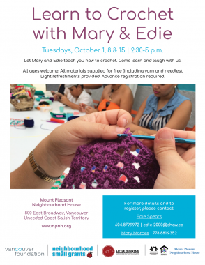 An image of the poster with program details, featuring a photo of a person's hands crocheting a square, with other people crafting in the background.