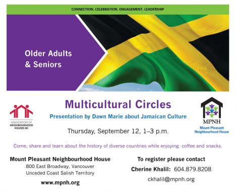 An image of the poster with event details, featuring a photo of a Jamaican flag.