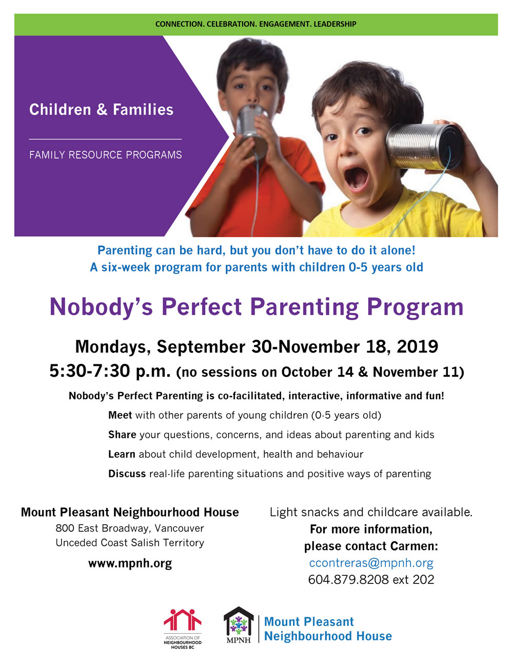 An image of the program poster, featuring a photo of two young children making faces and speaking into a tin cans attached by string.