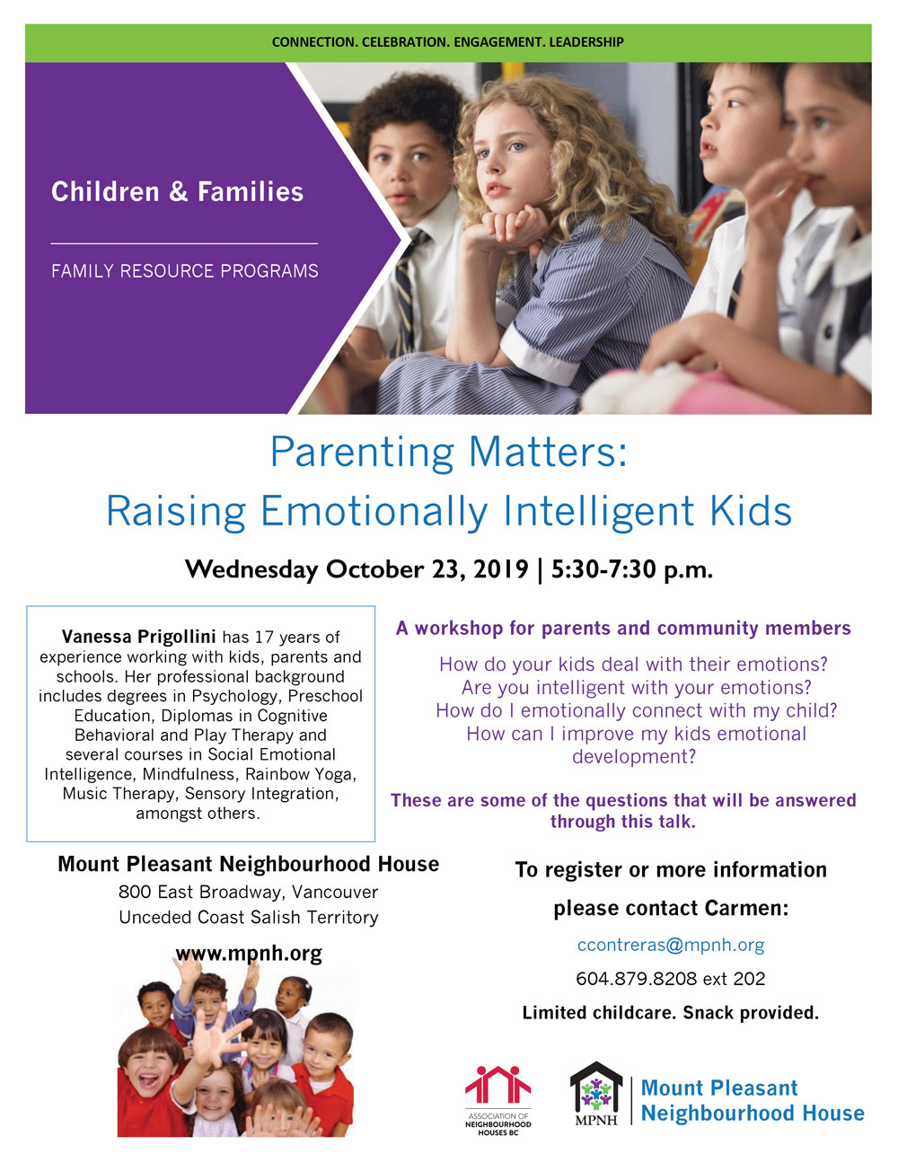 An image of the poster with event details, featuring photos of children learning, listening, and playing together.