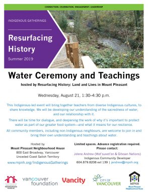 An image of the poster with event details, featuring an image of water flowing through Renfrew Ravine