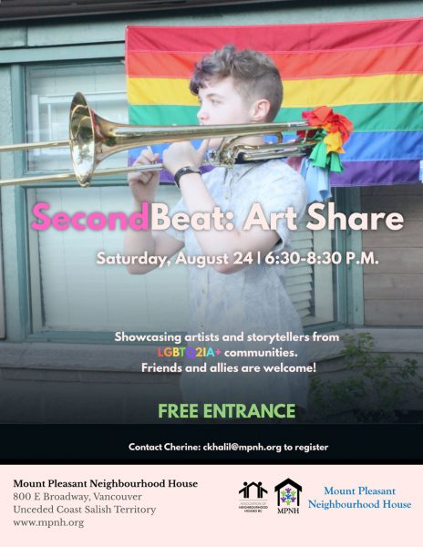 An image of the poster with event details, featuring a young person playing the trombone outdoors, in front of a Pride flag.