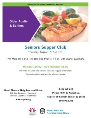 An image of the poster with event details, featuring a photo of a meal with grilled salmon and veggies