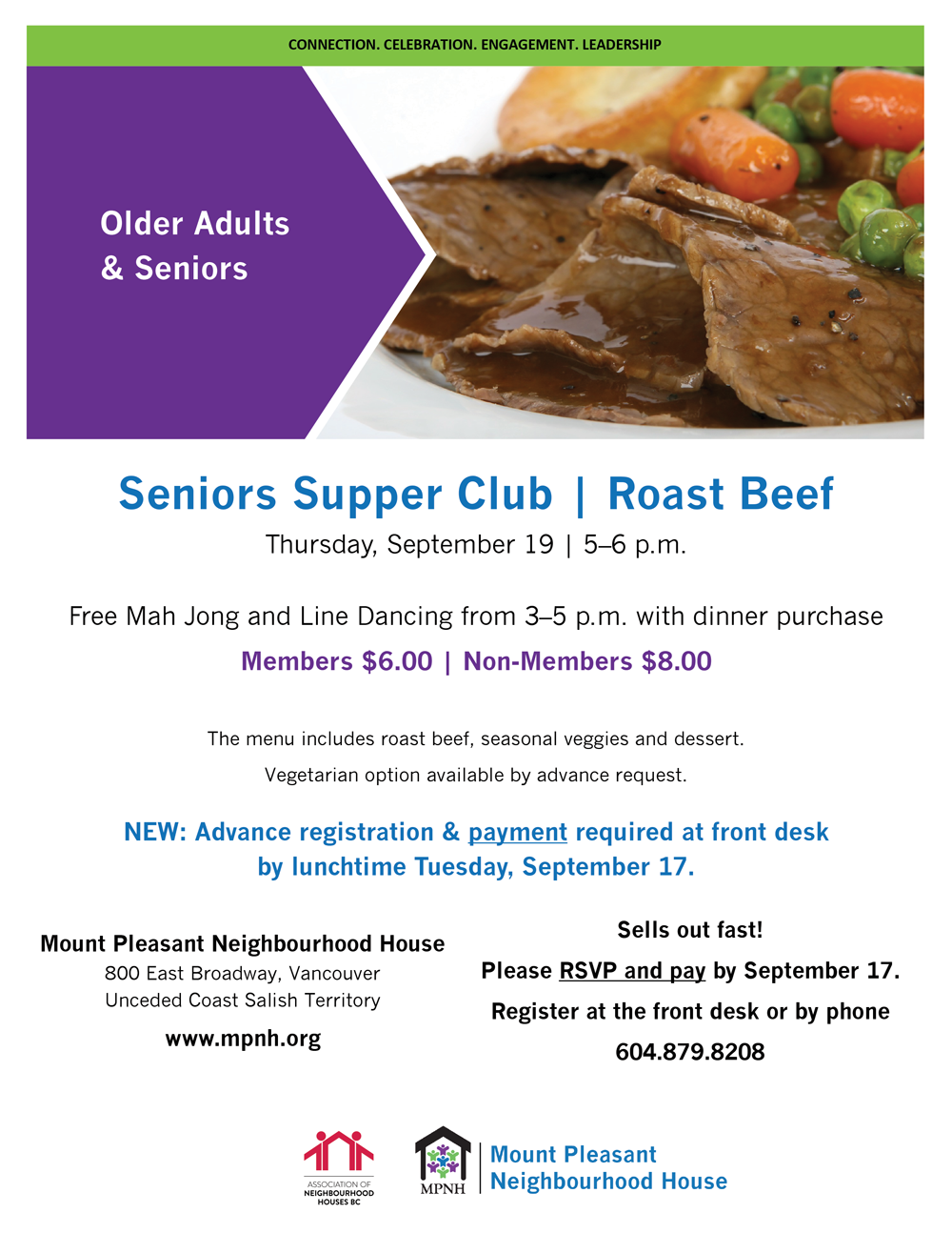 An image of the event poster, featuring a photo of sliced roast beef with gravy and vegetables