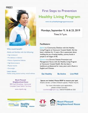 An image of the poster with program details, featuring a photo of a person jogging outdoors.