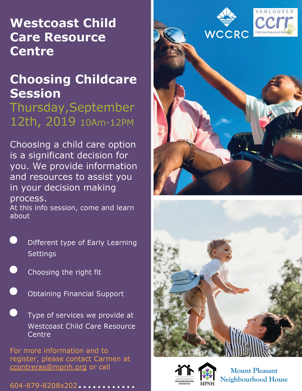 An image of the poster with event details, featuring photos of a dad and child and a mom and child