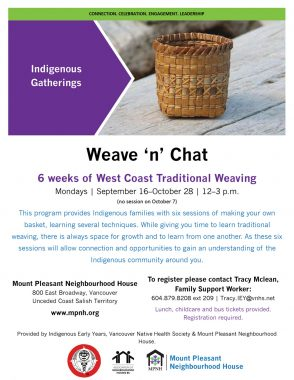 An image of the poster with event details, featuring a photo of a West Coast woven basket.