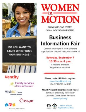 "An image of the poster with event details, featuring a person smiling and wearing an apron at a market stall, holding a chalkboard that says, ""Do you want to start or improve your business?"""